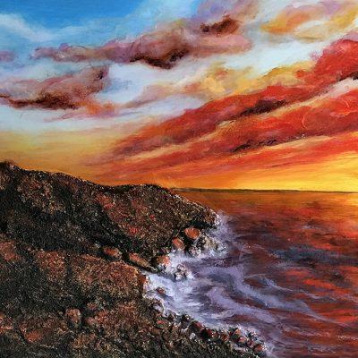 """Blazing Sunset at Peggy's Cove, Nova Scotia"", mixed media on wood, 20"" x 30"" x 1.5"" by Erika Farkas"
